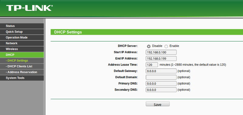 Disable DHCP on the LAN